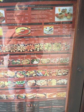 Viganj, Croacia: The menu
