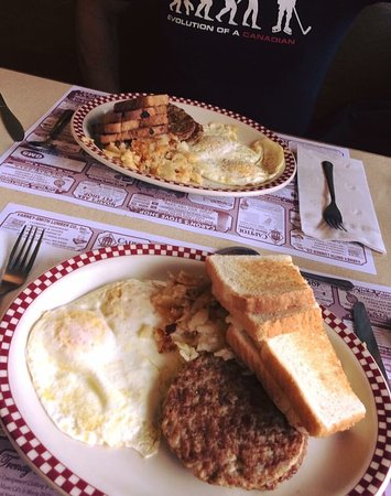 Littleton, NH: Breakfast combo with sausage patties & French toast
