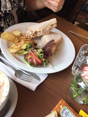 Fochabers, UK: Gluten free sandwich, soup & sandwich, pancakes & icecream