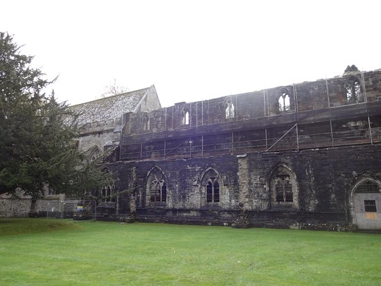 Dunkeld, UK: Part of the cathedral undergoing renovation.