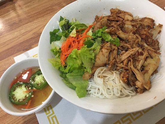 tuyet mai restaurant beef broth with vermicelli noodles and bun ga xao xa rice