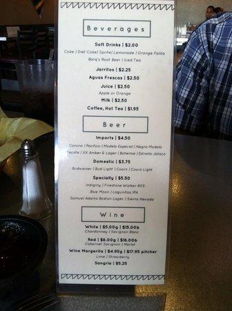 Jackson, CA: Beverage menu