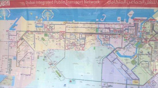 Plano de los recorridos de bus en Dubai Picture of Roads and