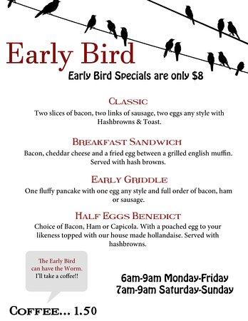 Fort St. John, Canadá: Early Bird Menu