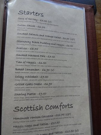 Glenmoriston, UK: Part of the menu.