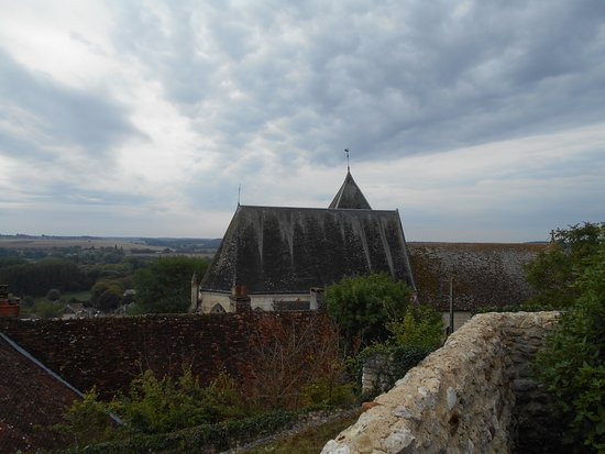 Indre, France: View from chateau over roof of town church