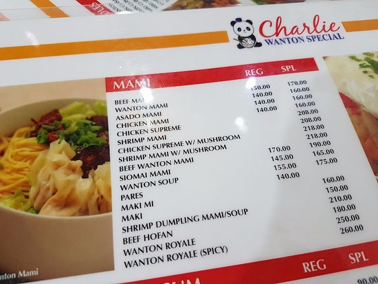 The Menu And Prices Picture Of Charlie S Wonton Mandaluyong