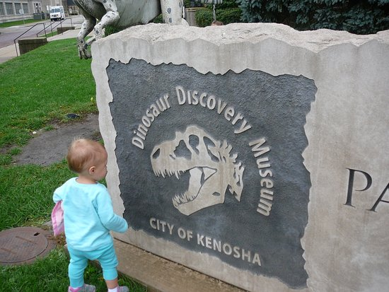 Kenosha, WI: checking out the dinosaur