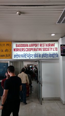 Entrance to Bagdogra Airport Restaurant on the 1st floor, run by Workers Cooperative Soceiety.