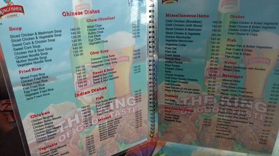 Bagdogra, Indien: Main Dishes menu with prices