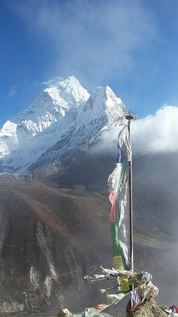 Tibetan Buddhist Flag with Himalaya Picture of Adventure Mountain