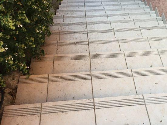 Vernet-Les-Bains, Frankrike: Escalier vers le patio : aucun nettoyage en 3 semaines