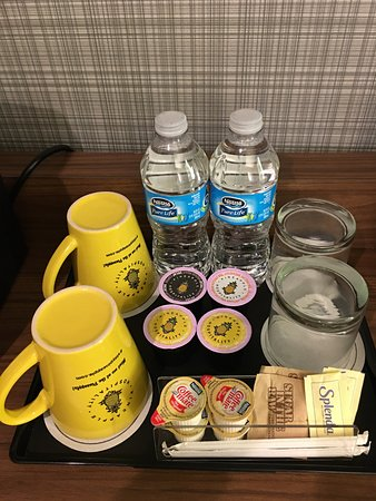 Beverages station in the room.