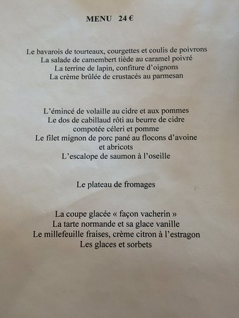 Saint-Maclou, France: menu