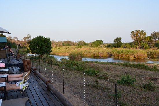 Sabie River Bush Lodge: Terrase d'où l'on peut voir les animaux