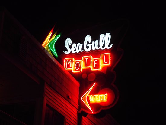 SeaGull Motel: Night view of apt., building sign...doo wop retro in Wildwood