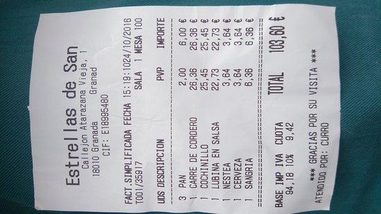 Restaurante Estrellas de San Nicolas : Pour 3, sans desserts ni fromage ni vin...