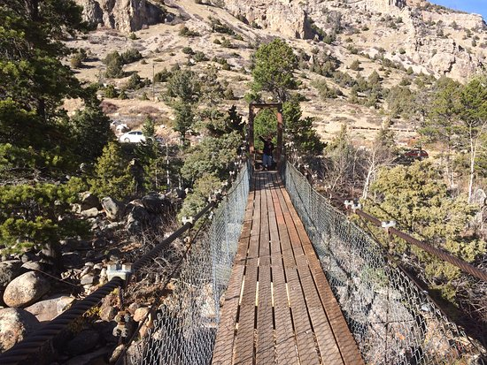Lander, Wyoming: Swinging bridge across the Popo Agie River that leads to nature trail.