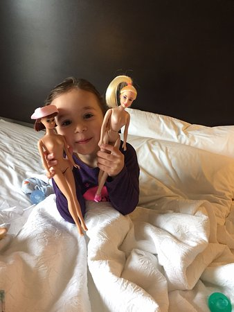 Vancouver, WA: Phoebe with her two (and only Barbies)..both gifts from hotel staff.