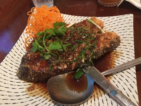 Irving, TX: Fried Seabass steak with ginger and green onion sauce. Delicious - a must try!