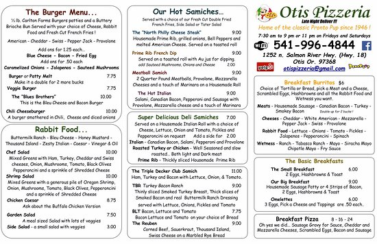 Otis, OR: Menu Oct 2016 prices subject to change without notice
