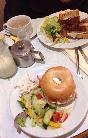 Smoke salmon and mascarpone bagel, tuna melt toastie, banana ice cream milkshake and tea x