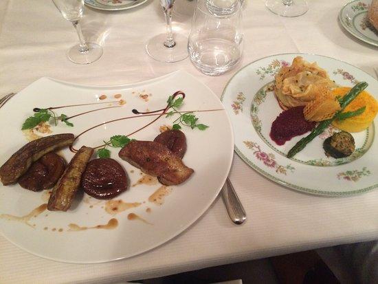 Tamnies, Prancis: Plat : foie poêlé avec des figues et légumes