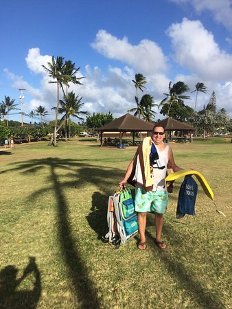 Koloa, HI: just a little of the stuff we rented...PS: those beach chairs for 3 bucks are the bomb!