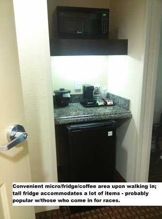 Holiday Inn Daytona Beach LPGA Blvd: Tall fridge is awesome for more than a couple of bottles of soda or water.
