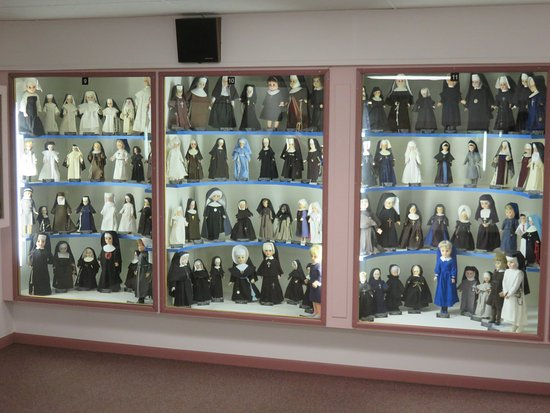 Indian River, MI: One Wall of the Nun Doll Museum