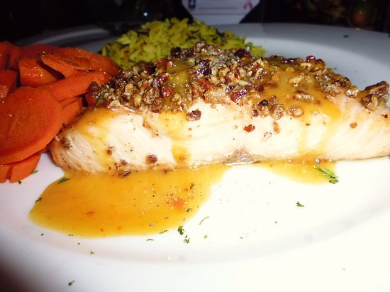 South Burlington, VT: pecan encrusted salmon with wild rice and maple infused carrots