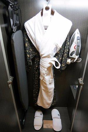 Bathrobe, yukata, iron and ironing board