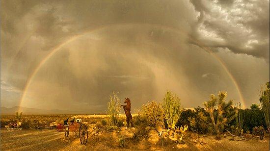 Yucca, Arizona: Rainbow over ranch