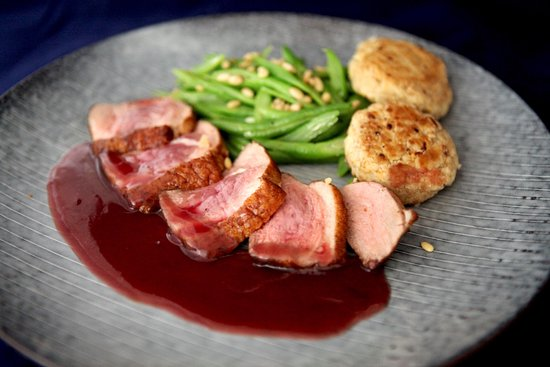 timezone 8 bar restaurant duck breast with brandy reduction sauce