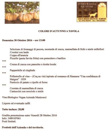 Vejano, Italia: proposta menu degustazione Domenica 30 Ottobre