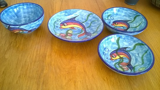 Koloni, Cyprus: More items I made during the class .. Savvas pottery glazed them up to the design I asked.
