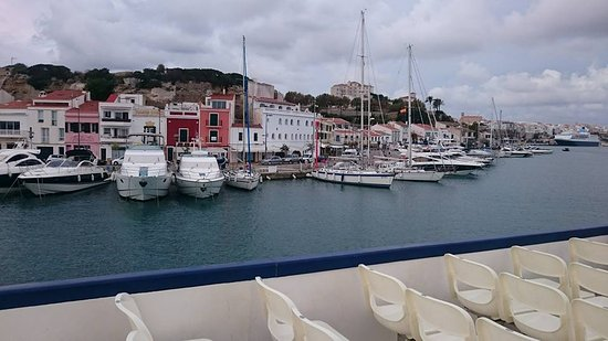 Lovely view of the harbor in Mahon, Spain.