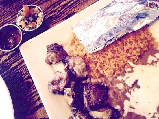Appomattox, VA: Carnitas: tender pork chunks with Mexican rice, refried beans and cheese, warm soft flour tortil