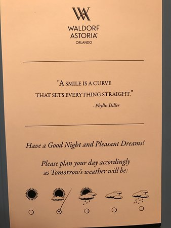 """Waldorf Astoria Orlando: What a """"little"""" perfect touch! Kelly the turndown housekeeping was EXTREMELY sweet and profesion"""