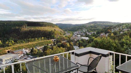 Trois Ponts, Belgia: Uitzicht vanaf het terras van het hotel