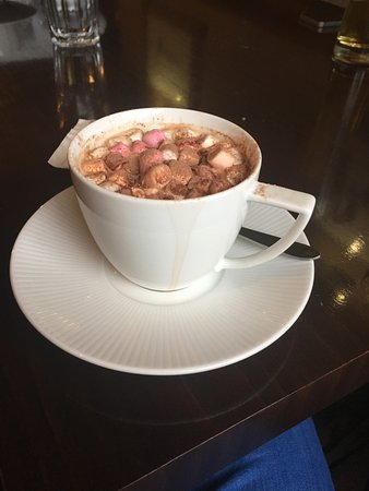 Redesdale Arms Hotel: Enjoying a nice hot chocolate on a cold day.