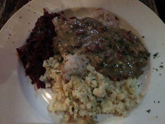 Feierabend: Jaeger Schnitzel with rotkohl and spaetzele
