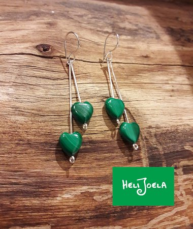 Kajaani, Finland: Malachite and sterling silver earrings