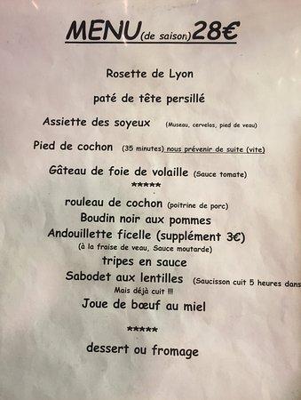 The Menu - Picture of Notre Maison, Lyon - Tripadvisor