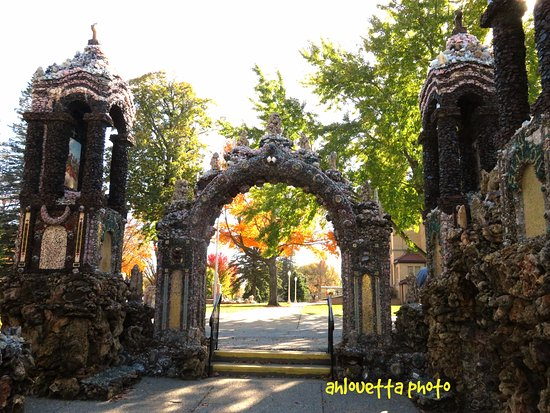 West Bend, IA: 1 of the gates made of gems (The backside leading to the church.)