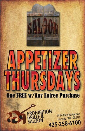 Everett, WA: Enjoy a free appetizer with purchase of an entree on Thursdays.