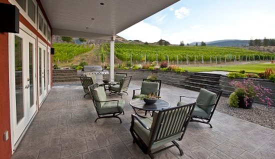 Okanagan Falls, Kanada: Enjoy a glass of wine in the vineyard on our tasting room patio!