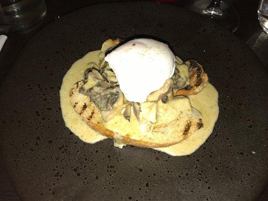 Delph, UK: Garlic mushroom starter and poached egg.