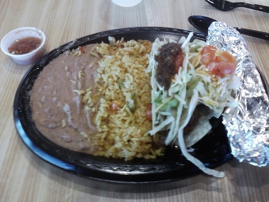 Rio Rancho, NM: hard shell tacos with a tortilla, rice & beans
