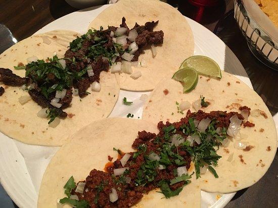 Suffolk, VA: carne asada (top) and chorizo (bottom) street tacos